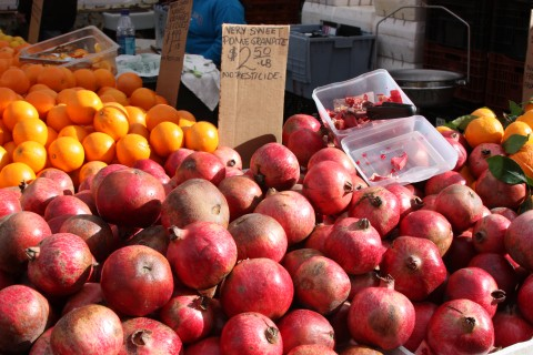 Pomegranites on display.