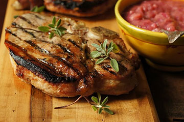 Grilled Pork Chops with Rhubarb Mostarda