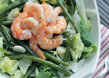 Green Beans and Iceburg Lettuce Salad with Prawns