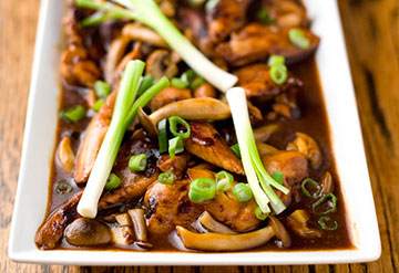 chicken and mushroom oyster sauce stirfry