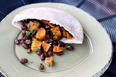 Blackbean and Sweet Potato Pita-wich
