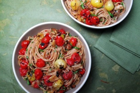Charred Tomato Pasta with Pomegranate Molasses