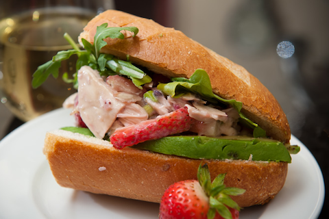 Strawberry Lavender Chicken Salad Sandwich