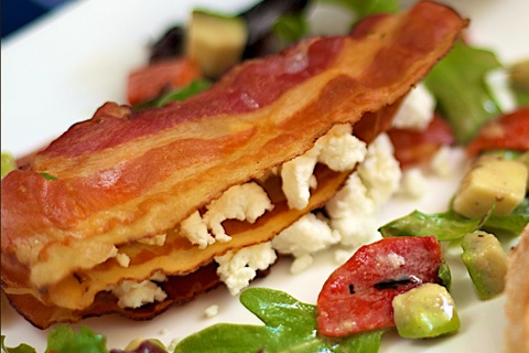 Streaky Bacon and Goat Cheese Mille Feuille