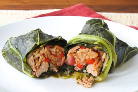 Cajun Inspired Stuffed Collard Rolls