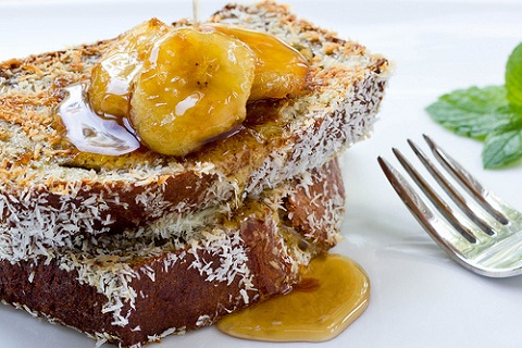 Coconut Crusted Banana Bread French Toast