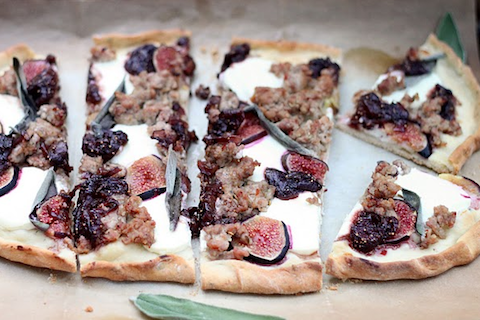 Goat Cheese and Sausage Pizza with Balsamic Onions and Fresh Figs