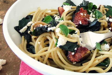 Fig, Feta, and Spinach Spaghetti