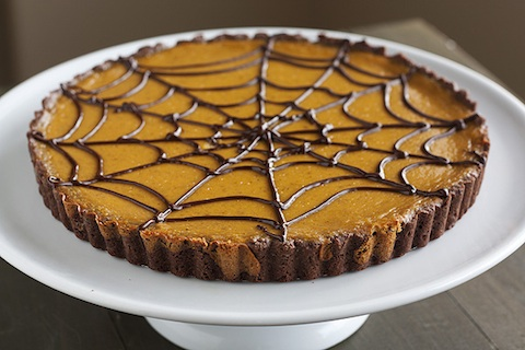 Pumpkin Chocolate Spiderweb Tart