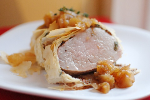 Wrapped Pork with Apple Chutney