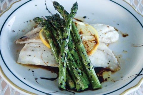 Asparagus, Balsamic Reduction, and Tilapia