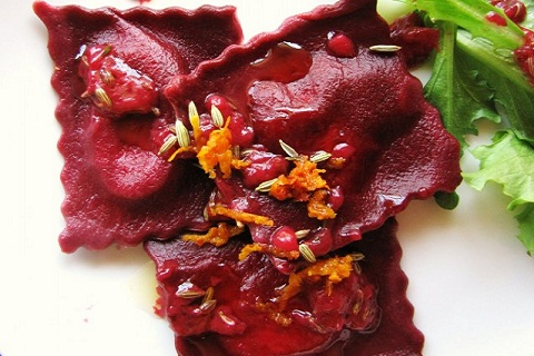Beet Ravioli with Blood Orange-Fennel Sauce