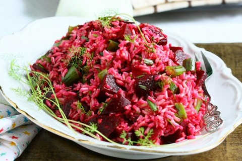 Brown Rice Salad with Beets and Herbs