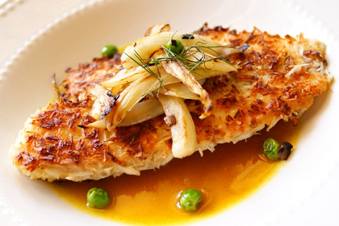 Coconut Crusted Tilapia with Pineapple-Curry Sauce