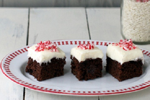 Peppermint Brownies with Cream Cheese Frosting