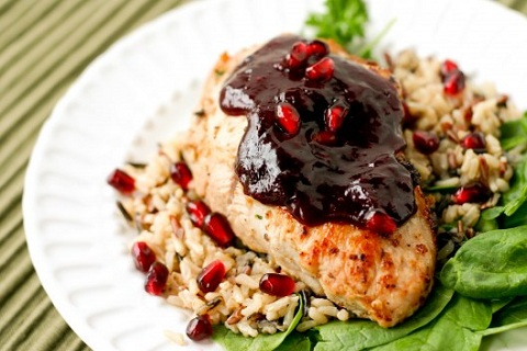 Portuguese Stuffed Pork Chops with Pomegranate Sauce