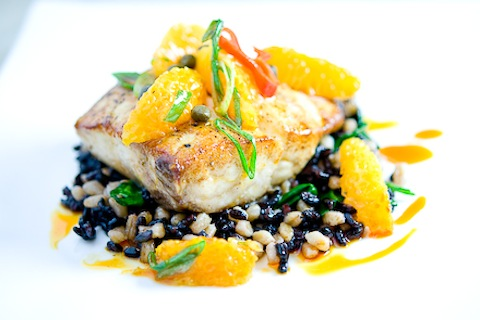 Wild Striped Bass with Farro, Black Rice, Baby Spinach & Tangerine