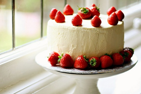 Strawberry and Cream Devil's Food and Fairy Layer Cake