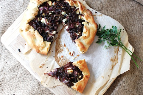 Caramelized Onion, Mushroom and Goat Cheese Galette