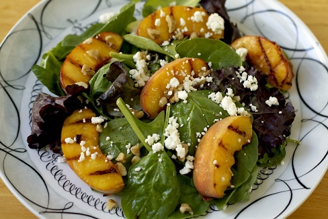 Grilled Peach Salad with Feta and Honey Balsamic Glaze