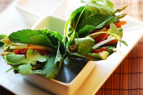 Raw Thai Spring Rolls with Almond Dipping Sauce