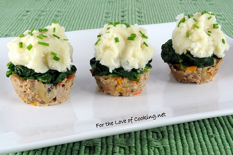 Turkey Meatloaf Muffins topped with Spinach and Roasted Garlic Mashed Potatoes