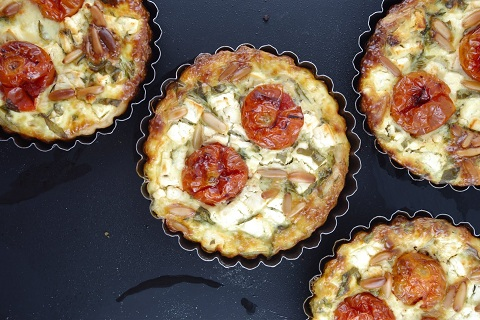 Cherry Tomatoes, Feta, Rocket, and Pine Nut Quiche