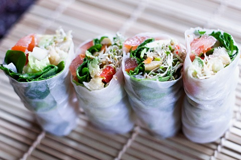 Chickpea and Portobello Rice Paper Wraps