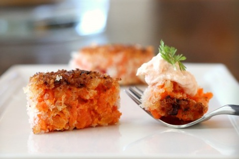 Spiced Carrot Croquettes with Yogurt-Sriracha Sauce
