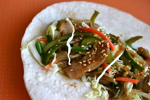 Teriyaki Pork Wraps with Sesame Bean Sprouts