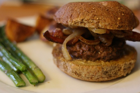 Goat Cheese, Caramelized Onion, and Bacon Burgers