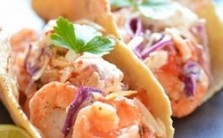 Shrimp Tacos with Jalapeno Yogurt Slaw