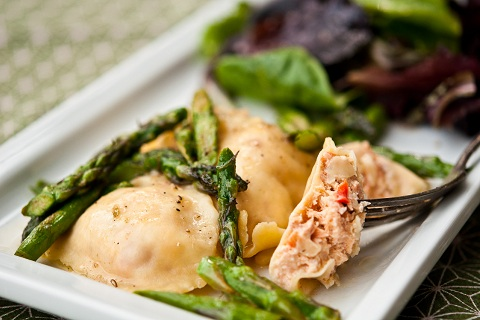 Smoked Salmon Ravioli with Brown Butter Asparagus Sauce