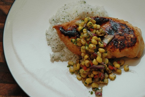 Soy Lime Marinated Chicken with Balsamic Corn Relish