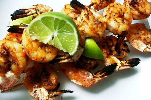 Spicy Lime Cilantro Barbecue Shrimp Skewers
