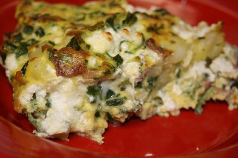 Spinach, Potato, Bacon, & Goat Cheese Frittata