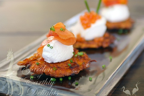Sweet Potato Latkes with Maple Mascarpone and Smoked Salmon