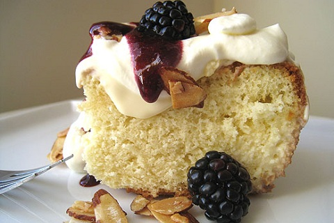 Tres Leches Cake with Blackberries and Maple-Glazed Almonds