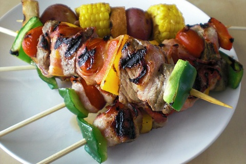 Bacon-Laced Beef Skewers