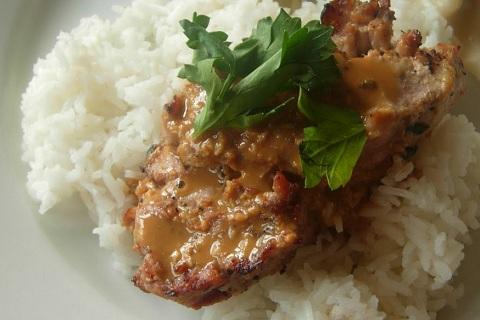 Coconut and Peanut Pork Chops