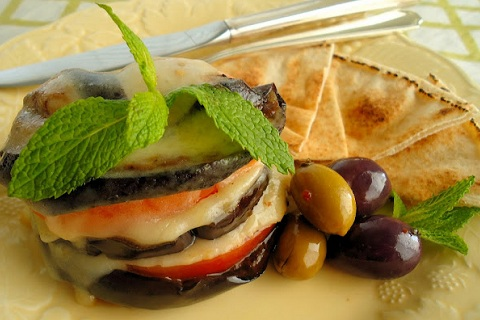 Grilled Eggplant Stacks with Greek Kasseri Cheese