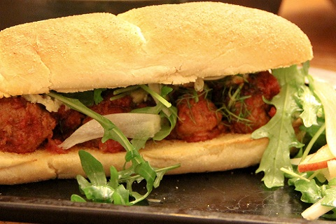 Meatball Marinara Sub with Blue Cheese, Rocket, Fennel & Apple