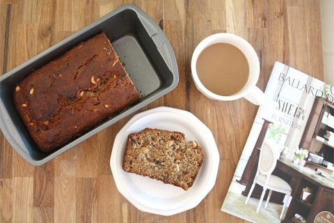 Peanut Butter and Cocoa Nib Banana Bread