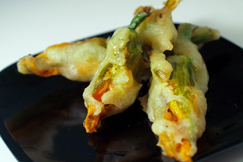Tempura Battered Zucchini Blossoms Stuffed with Bacon and Cheese