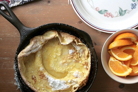 Brown Butter Dutch Baby Pancake with Lemon and Sugar