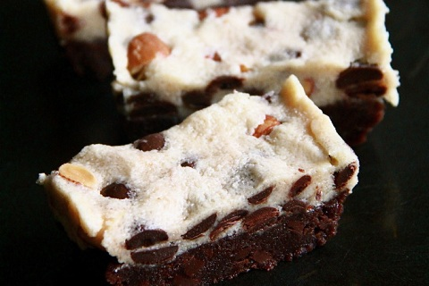 Chocolate Chip Almond Cookie Dough Brownies