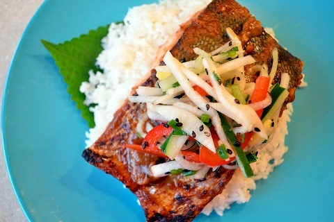 Miso Salmon with Daikon Slaw