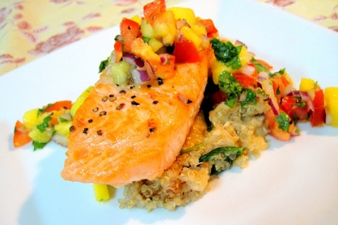 Pan Fried Salmon with mango Salsa