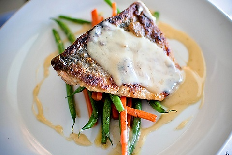 Salmon with Lemon Cream Beurre Blanc and Sauteed Vegetables