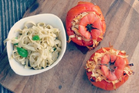 Baked Tomatoes With Pasta